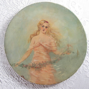 Antique Victorian Paper Mache Plate Hand Painted Oil Painting Lady Long Hair Roses Garland