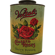 Victorian Large Talcum Powder Tin Paper Litho Red Roses Crushed Roses Scarce Tin