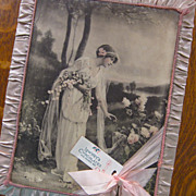 BEST *  Edwardian Lowney's Candy Box HUGE Pink Silk Roses Edwardian Tinted Photo Bride Pink Silk Box Chocolate Box
