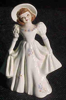 Florence Ceramics Flower Holder Girl Holding Skirt