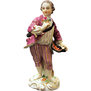 Antique Meissen Figurine, Barefoot Boy With Flowers and Hat