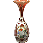 Bohemian Cranberry Glass Overlay Vase, Hand Painted Floral Medallions