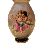 Bohemian Ahne Opal Glass Vase, Hand Painted Cherubs, Putti, Butterflies
