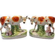 Pair of 19th Century Staffordshire Cow Figures with Milkmaids