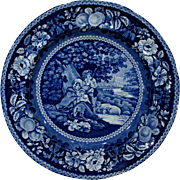 Dark Blue Staffordshire Transferware Plate Sheltered Peasants