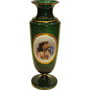 Hand Painted Bohemian Green and Gold Portrait Vase, Circa 1880
