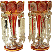 Pair of 19th. Century Bohemian Cranberry Glass And Gold Overlay Lustres