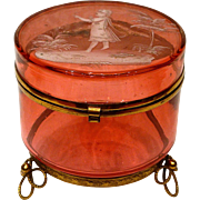 Hand Painted Bohemian Mary Gregory Cranberry Glass Box with Ormolu Feet