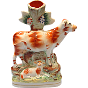 Staffordshire Cow and Sheep Spill Vase Figure