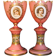 Pair of Bohemian Opal Glass Urn Vases with Hand Painted Portraits Flower Bouquets