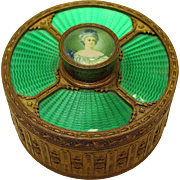 Antique French Guilloche Enamel Gilt Bronze Jewelry Box with Miniature Portrait