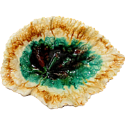 Majolica Begonia Leaf Dish Circa 1895 Excellent Condition