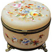 Bohemian Art Glass Dresser Jewelry Box with Raised Enamel Blossoms Ormolu Feet