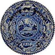 Staffordshire Dark Blue Quadrupeds Plate Gazelle John Hall Circa 1825