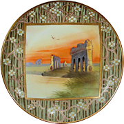 Hand Painted Nippon Plaque Plate, Grecian Ruins Enameled Blossoms