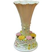 Irish Belleek Centerpiece Vase Applied Colored Flowers and Foliage Mint Condition