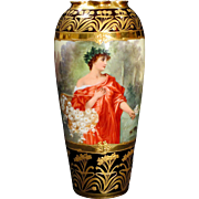 Hand Painted Dresden Portrait Vase Classical Beauty with Flowers and Laurel Wreath