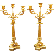 Pair of 19th. Century French Empire Style Napoleon lll Period Gilt Bronze Candelabra