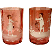 Pair of Mary Gregory Cranberry Glass Mugs Tumblers