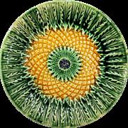 19th Century Majolica Pineapple Pattern Plate
