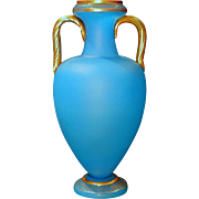 Antique French Blue Opaline Art Glass Vase with Applied Handles and Gold