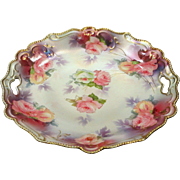 RS Prussia Cake Plate Roses Mother of Pearl Satin Finish