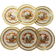 Set of 6 Early Reticulated Meissen Plates Hand Painted Harbor Scenes Circa 1820