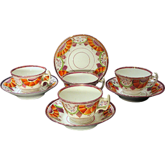 Set of 4 Hand Painted Pink Luster Cup and Saucers Circa 1820