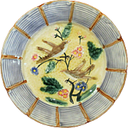 Antique Majolica Plate Birds Blossoms and Leaves in Relief