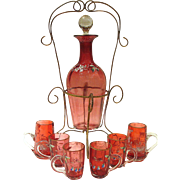 Antique Enameled Cranberry Glass Liqueur Set in Gilt Ormolu Holder