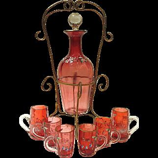 Antique Enameled Cranberry Glass Liquor Set in Gilt Ormolu Holder