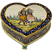 Hand Painted French Henriot Quimper Decor Riche Heart shaped Trinket Box