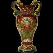 19th Century Austrian Wilhelm Schiller Egyptian Revival Majolica Vase Snake Handles