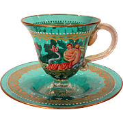 Italian Venetian Art Glass Cup and Saucer Hand Painted Enamel and Gold