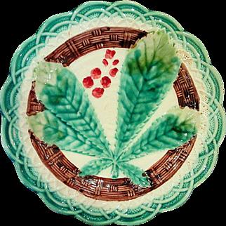Chestnut Leaf and Basket Weave Majolica Plate, Circa 1900