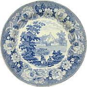 Blue and White Staffordshire Transferware Plate, Farm Scene with Cows