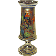 19th Century Bohemian Mercury Glass Vase Hand Painted Bird and Blossoms