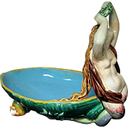 Rare 1868 Minton Majolica Dish Mermaid Siren with Wreath Shell Feet