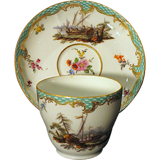 Fine 18th Century Meissen Cup and Saucer Hand Painted Coastal Scenes