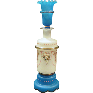 Antique French Blue and White Opaline Glass Enameled Perfume Scent bottle