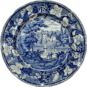 Circa 1825 Blue and White Staffordshire Transferware Plate Enoch Wood Guys Cliff