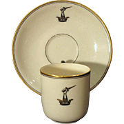Rare Irish Belleek Armorial Crested Ring Handle Cup and Saucer First Black Mark