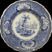 Blue and White Staffordshire Transferware Plate Medina Thomas Goodwin Circa 1840