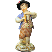 19th Century Meissen Figurine Boy with Flute and Barrel of Grapes