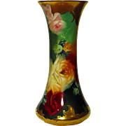 Outstanding Limoges Vase Hand Painted Roses by Master Artist Burton