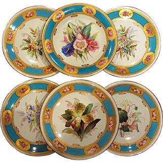 Exceptional Set of Six Hand Painted Royal Worcester for Tiffany Botanical Plates