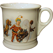 Old German Child's Mug Circus Scenes Poodles Clowns