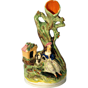 Miniature Staffordshire Spill Vase Girl with Dog and Dog House