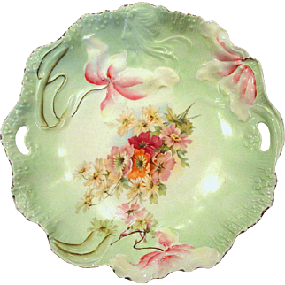 RS Prussia Art Nouveau Hidden Image Cake Plate