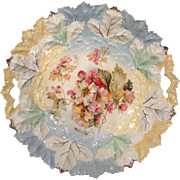 Large RS Prussia Cake Plate Leaf Mold and Wild Roses